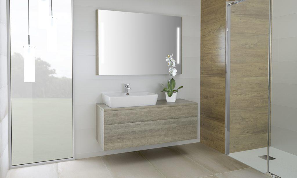 Mueble y espejo Emma Square de Gala para un baño familiar
