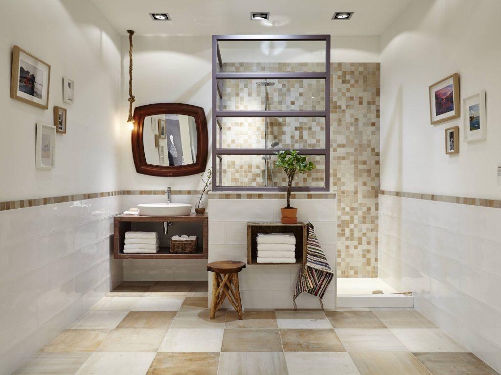 Cerámica Laponia para baño rústico actual