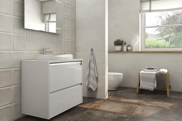 Baño rústico con muebles modernos