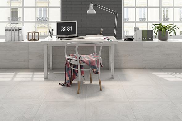 Suelo de madera cerámica en espacio de trabajo