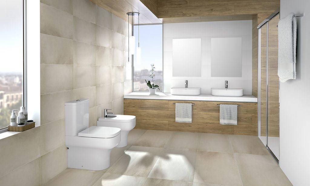 Juega con la distribución de tus mobiliario de baño para agrandar el cuarto