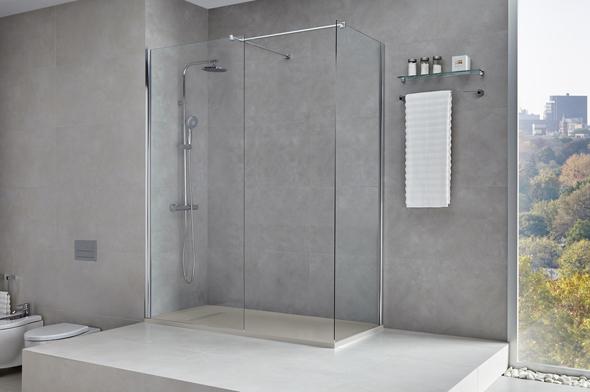 Foto de la ducha práctica con mampara walkin