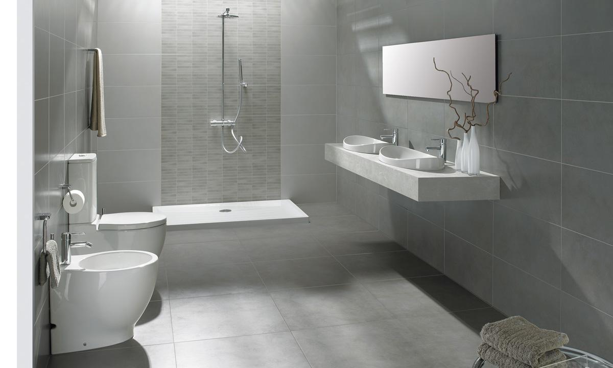 Ba os grises las mejores ideas para una decoraci n for Pared de bano de concreto encerado