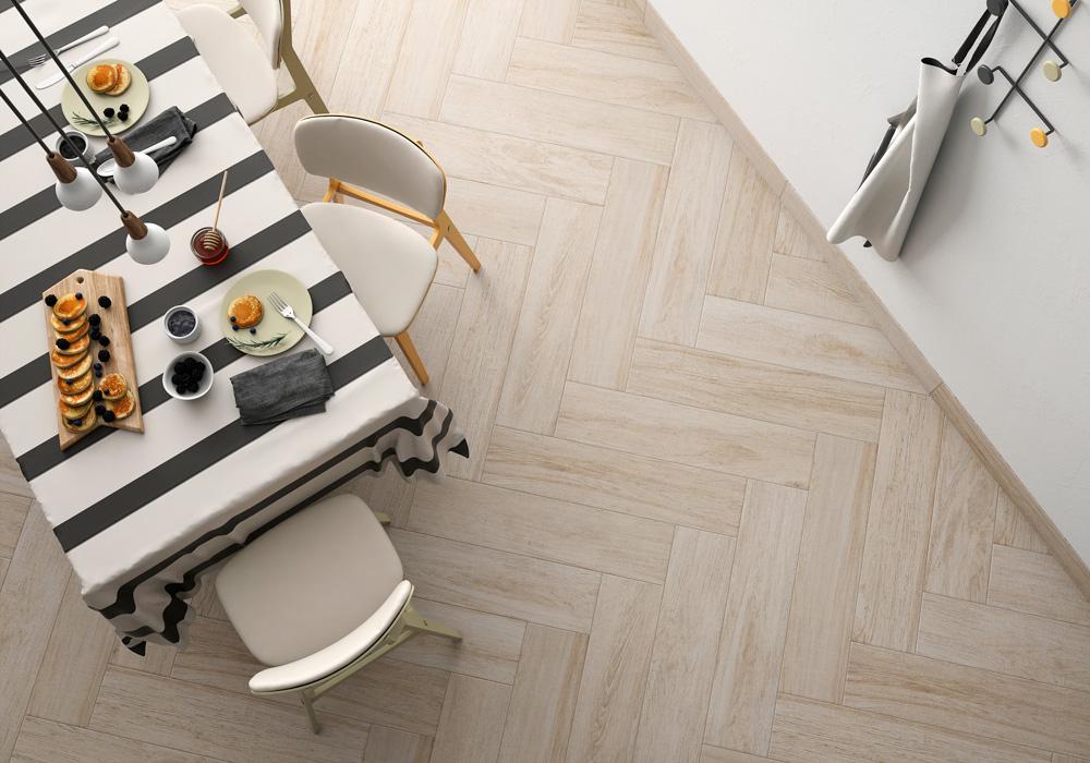 Madera cerámica para combinar azulejos para cocinas blancas