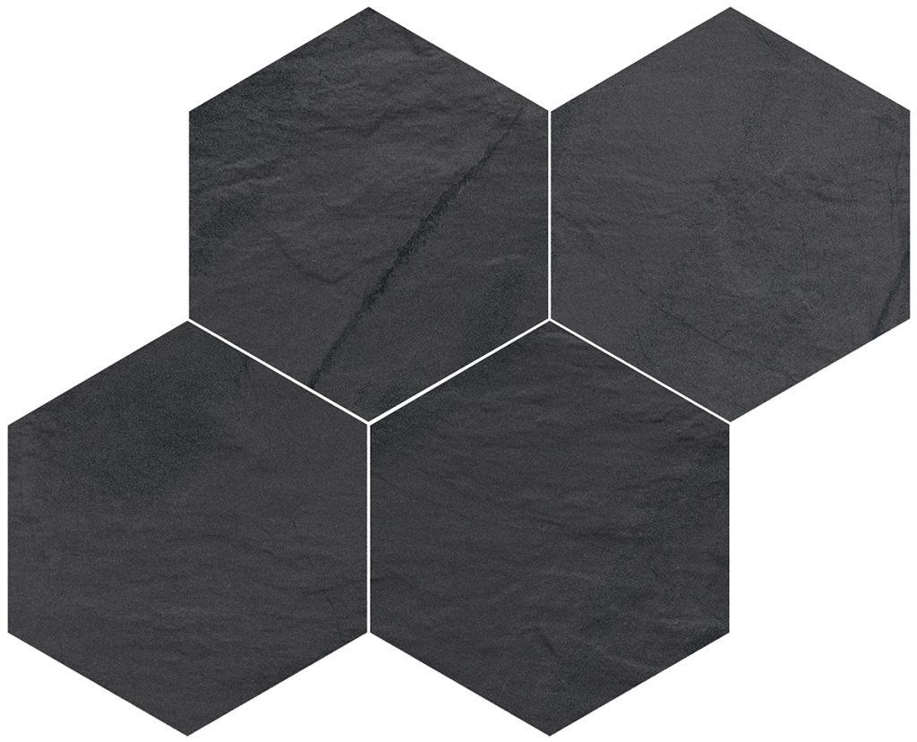 azulejo hexagonal negro